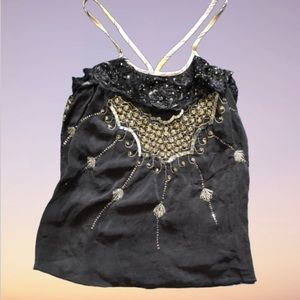 FREE PEOPLE Blue Beaded Strappy Silk Tank Size 0
